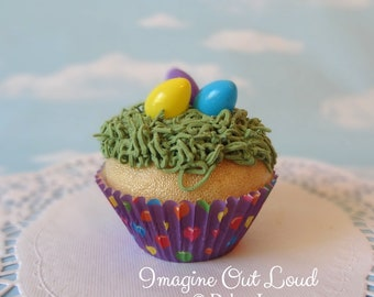 Fake Cupcake Handmade Easter Spring Faux Candy Eggs Jelly Beans Rabbit Home Decor