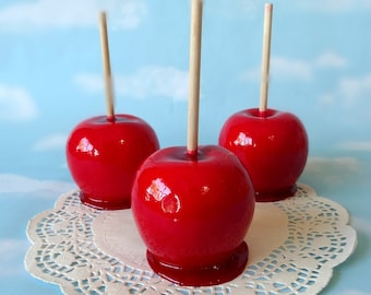 Fake Realistic Candied Apple Red Faux Decor Photo Food Prop