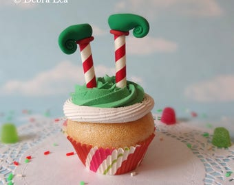Fake Cupcake Realistic Christmas Holiday RED GREEN Elf Legs Shoes Faux Ornament Candy Stripe