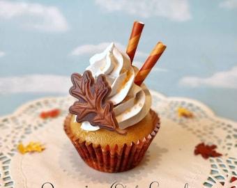 Fake Cupcake SINGLE Thanksgiving Oak Leaf Faux Dessert Decoration Kitchen Decor