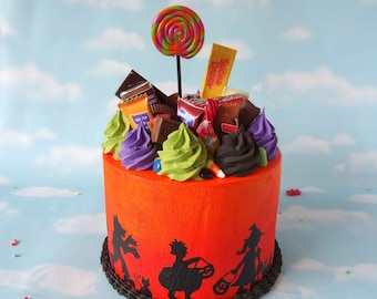Fake Cake Faux Halloween Centerpiece Trick or Treater Silhouette MAX Candy Art Piece Prop OOAK