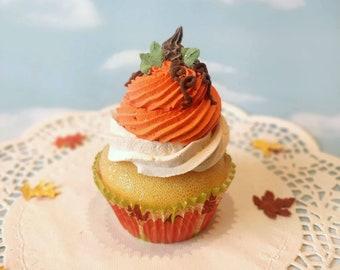 Fake Cupcake SINGLE Piped Pumpkin Fall Thanksgiving Faux Dessert Decoration Kitchen Decor