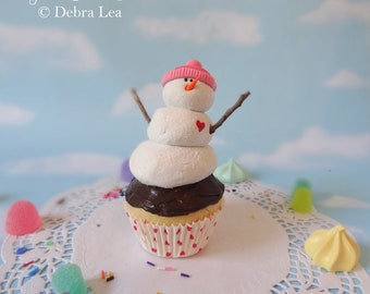 Realistic Fake Cupcake Pink Cookies Handmade Christmas Hat Snowman Faux Frosty