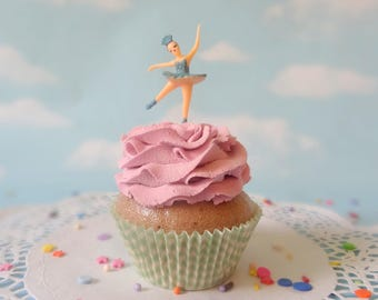Fake Cupcake Ballerina Aqua Pink Ruffles Faux Photo Prop Kitchen Decor Favor