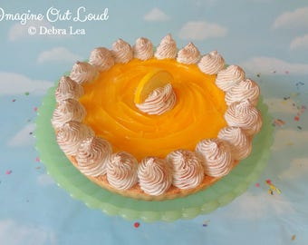 Fake Pie LARGE Tart Dessert Lemon Meringue Sweet Home Decor Kitchen Photo Prop Display Gift