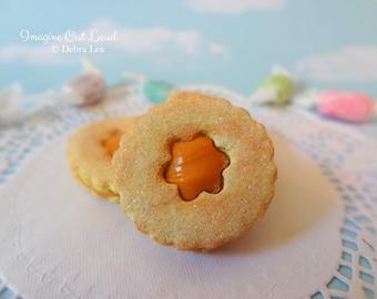 Fake Cookies Caramel Sandwich Linzer Tart Round Flower