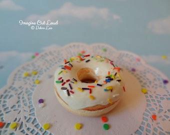 Fake Donut Doughnut Glazed Vanilla Frosting with Rainbow Sprinkles