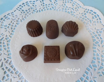 Fake Candy MILK Chocolate Bon Bons Truffles Set of Six Halloween Valentine's Display Food Prop Decor