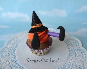 Fake Cupcake Halloween Melting Witch Hat Legs Trick or Treat Cupcake Display Decor