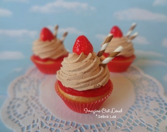Realistic Fake Cupcake Peanut Butter and Red Strawberry Jelly Faux