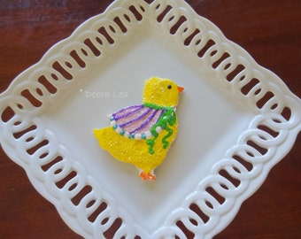 SALE! Handmade Fake Cookie Faux  Easter Sugar Cookie Chick with Pink Shawl