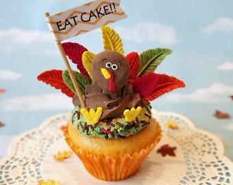 Fake Cupcake Turkey Thanksgiving Jumbo Fall Autumn Decor Centerpiece