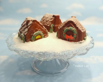 Fake Gingerbread House Mini Cakes SET A Handmade Faux Holiday Kitchen Decor Centerpiece