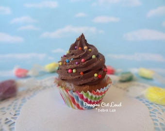 Fake Cupcake Chocolate Frosting Rainbow Sprinkles