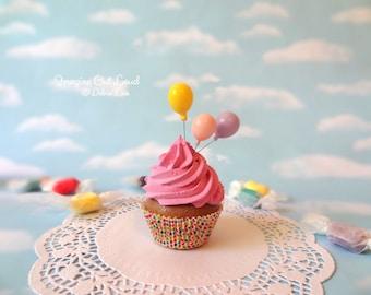 Fake Cupcake Happy Birthday Celebrate Fake Chocolate Cupcake Pink Frosting Party Balloons Favor Photo Prop Pastel