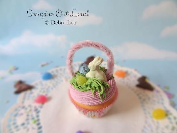 Fake Cupcake Handmade Easter Basket Spring Faux Candy Eggs Rabbit Home Decor