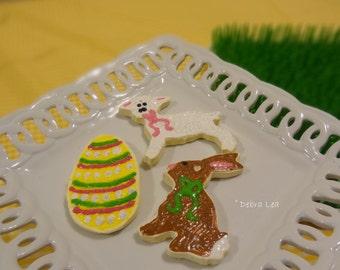 Set of 3 Handmade Fake Cookie Faux  Easter Sugar Cookie Set Bunny Egg Lamb