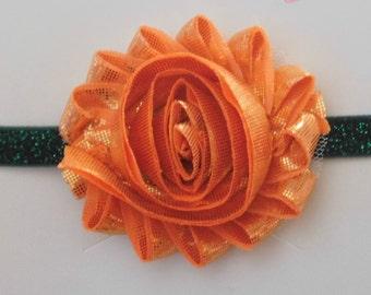 Orange and Green Shabby Flower Headband