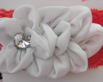 Large White Satin Flower and Red Lace Headband