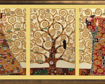 Gustav Klimt Laces of Life: Waiting Tree of Life Hugs DIY beaded embroidery kit bead stitching craft set,