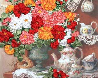 Sweet Memories silk ribbon 3d, dimensional flowers embroidery DIY kit, wall hanging artwork craft set