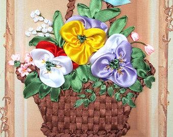 Violets in Basket silk ribbon 3d dimensional flowers embroidery DIY kit wall hanging artwork craft set