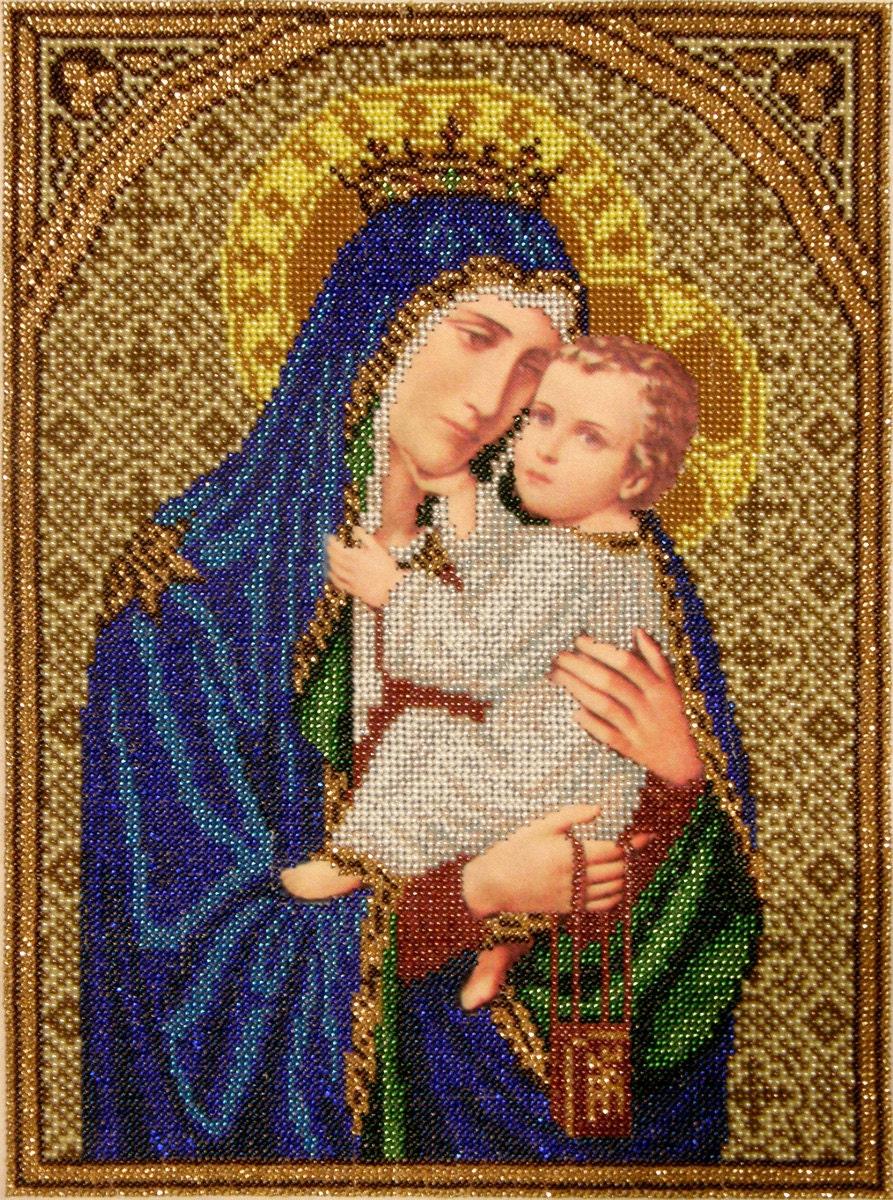 Kit de bricolage bricolage bricolage broderie Notre Dame du Mont Carmel de perle, image religieuse, perlant sur la soie imprimée, artisanat couture ensemble, perle de couture 5243c7