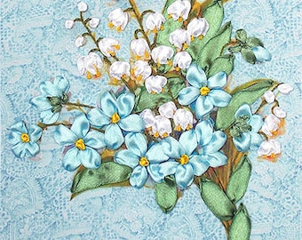 Forget-me-not silk ribbon 3d dimensional flowers embroidery DIY kit wall hanging artwork craft set