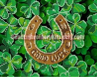 Good Luck Clover DIY bead embroidery kit, beading on needlepoint set, room wall decor housewarming gift idea