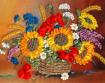 Basket with Flowers silk ribbon 3d, dimensional flowers embroidery DIY kit, wall hanging artwork craft set