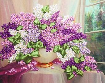Lilac silk ribbon 3d, dimensional flowers embroidery DIY kit, wall hanging artwork craft set