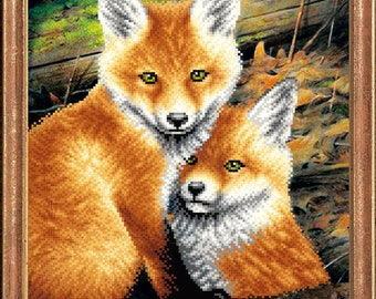 Foxes beaded stitching bead embroidery kit beading on printed pattern DIY craft set needlepoint beadpoint needlework hobby