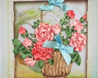 Roses in Basket silk ribbon 3d dimensional flowers embroidery DIY kit wall hanging artwork craft set