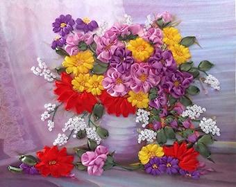 Autumn Flowers silk ribbon 3d, dimensional flowers embroidery DIY kit, wall hanging artwork craft set
