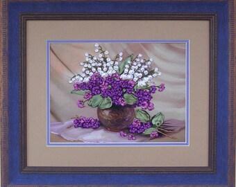 Violets silk ribbon 3d dimensional flowers embroidery DIY kit wall hanging artwork craft set