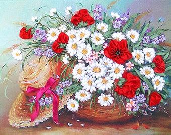 Sunhat silk ribbon 3d, dimensional flowers embroidery DIY kit, wall hanging artwork craft set