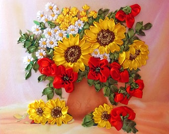 Poppies and Sunflowers silk ribbon 3d, dimensional flowers embroidery DIY kit, wall hanging artwork craft set