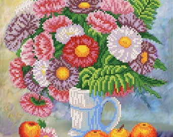 Asters and Apples DIY bead embroidery kit beading on needlepoint kit room wall decor house warming gift idea