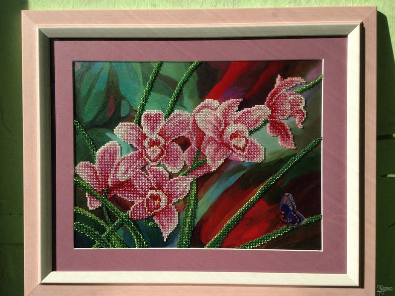 Orchids DIY bead embroidery kit beading on needlepoint housewarming gift idea needlework sewing craft set flowers pattern