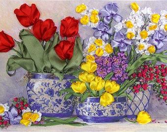 Tulilps silk ribbon 3d, dimensional flowers embroidery DIY kit, wall hanging artwork craft set