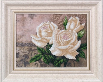 White Roses Bouquet Elegant Needlepoint beading, Wall Decoration, DIY beadpoint