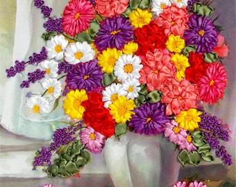 Сhrysanthemum silk ribbon 3d, dimensional flowers embroidery DIY kit, wall hanging artwork craft set