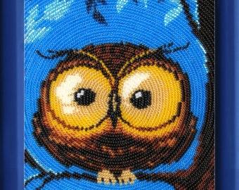 Little owl DIY bead embroidery kit beading on needlepoint room wall decor housewarming nursery gift idea