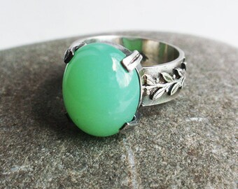 Elia - sterling silver and ring with chrysoprase