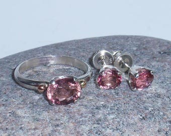 Fiori di pesco - SS jewellery set with natural pink tourmalines and 14K gold accents