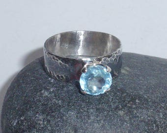 Hope - natural aquamarine sterling silver ring