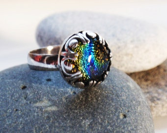 Rainbow - sterling silver with dichroic glass cabochon ring