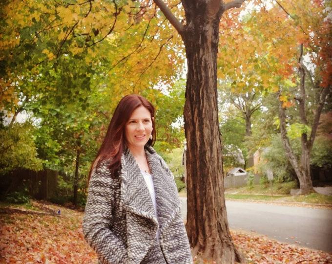 Featured listing image: Sweater Coat in Herringbone Heavy Wool Sweater Knit - Custom made by Shanna Britta