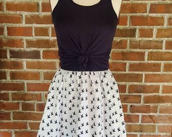 Elastic Waist Gathered A Line Skirt with Pockets Navy and white birds - Custom Made by Shanna Britta