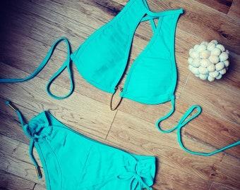 High Fashion Designer Bias Fluted Bikini Turquoise Teal - Custom made by Shanna Britta